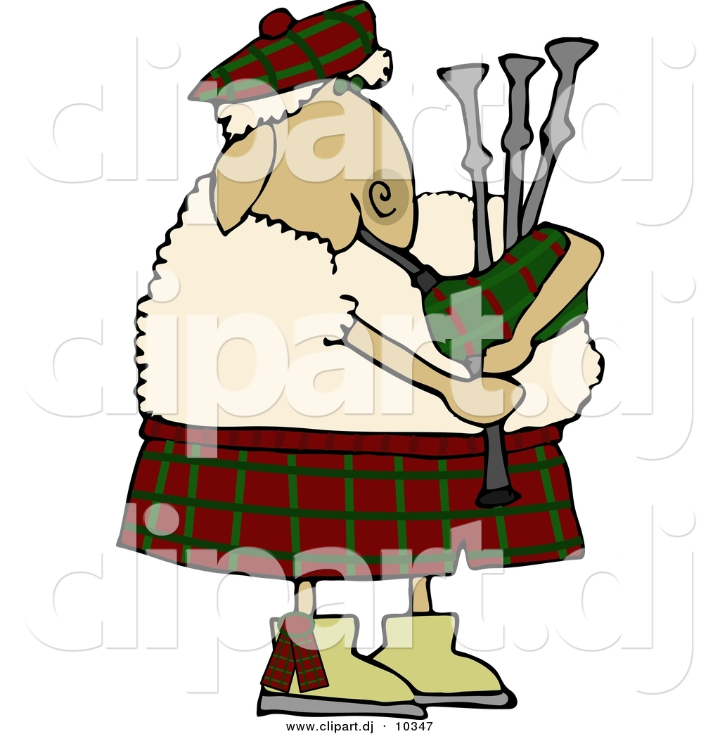 Cartoon Clipart of a Cartoon Scottish Sheep Playing a Bagpipe by ...