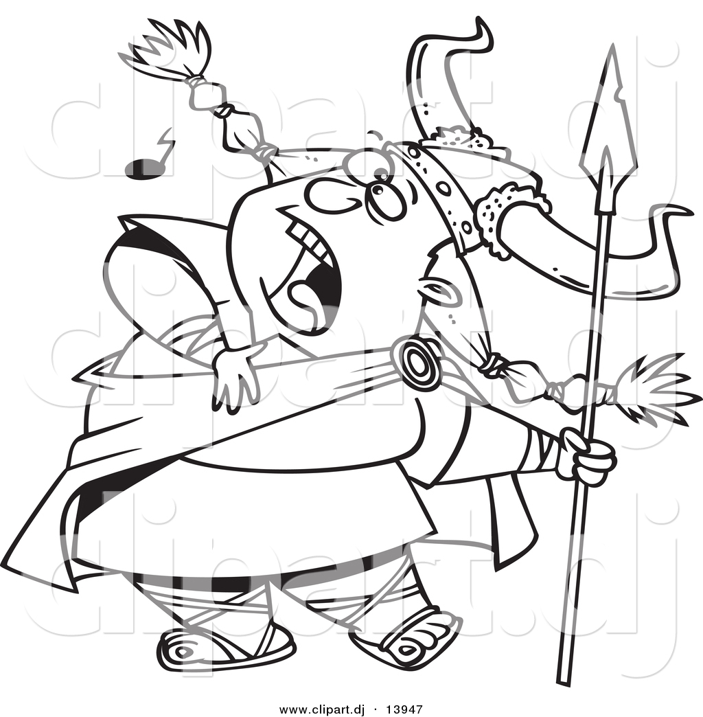 cartoon vector clipart of a female viking singing a song while