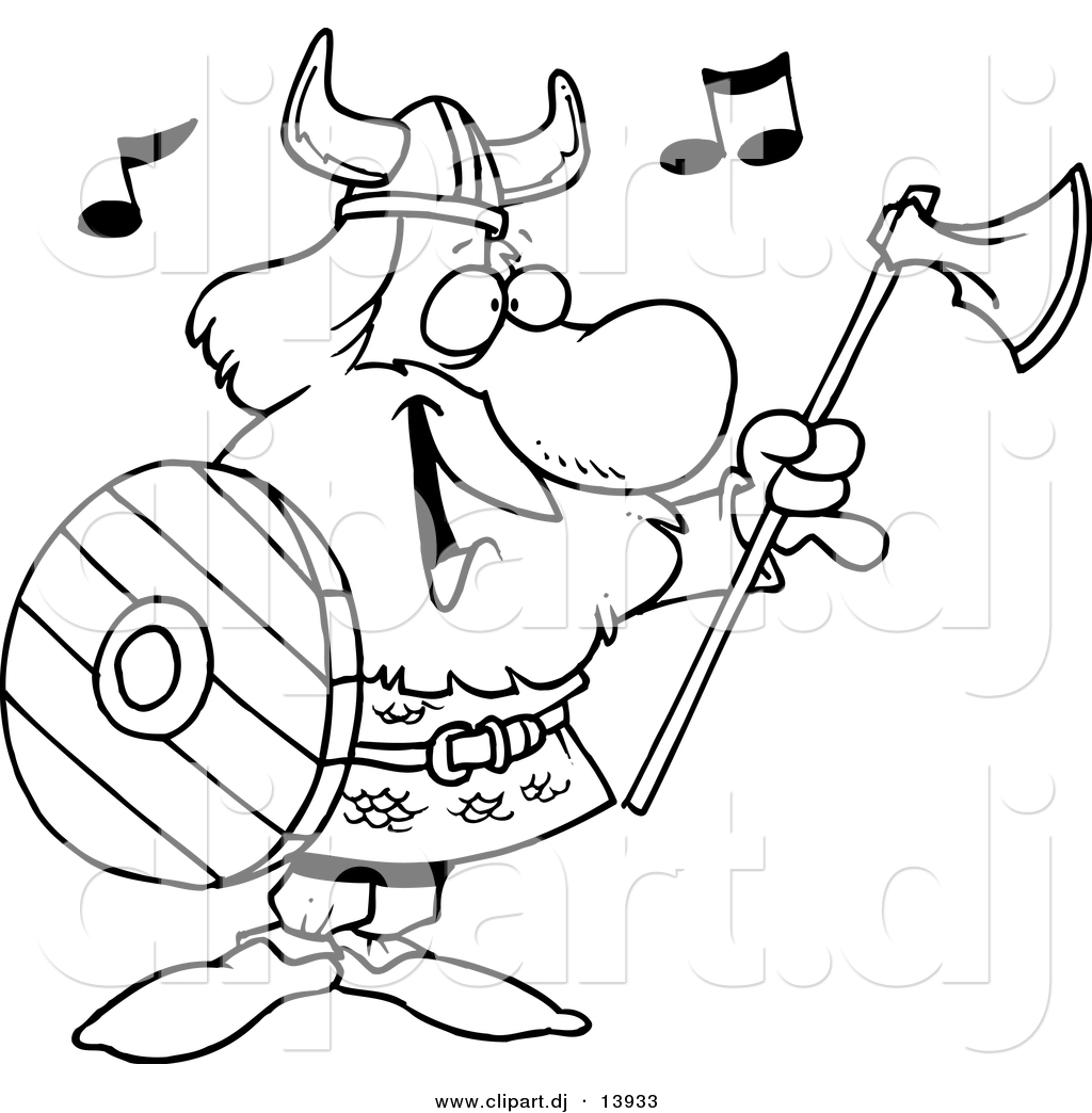 cartoon vector clipart of a happy singing viking with ax and