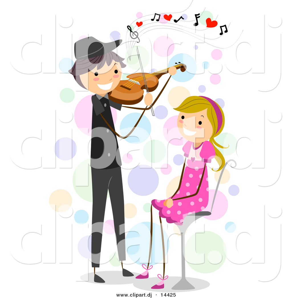 Cartoon Vector Clipart of a Stick Figure Boy Playing Violin Love Music