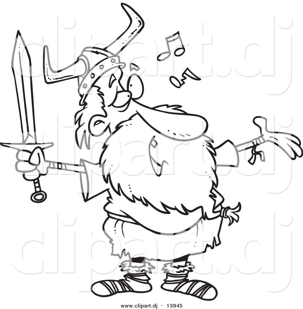 cartoon vector clipart of an old singing viking holding a sword