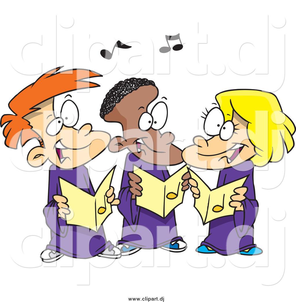 Cartoon Vector Clipart of Cartoon Singing Children in a Choir by ...