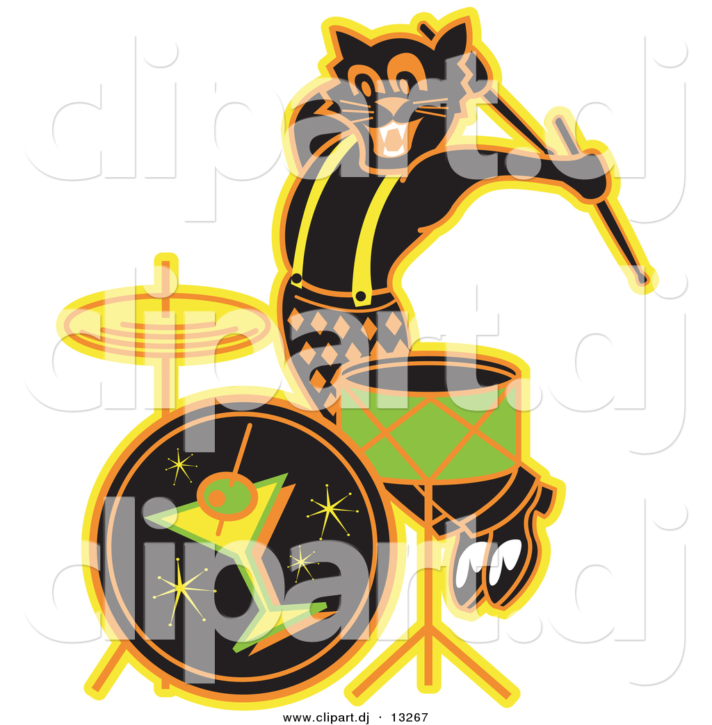 Musical Instrument : clipart of a black cartoon cat playing drums at a bar by andy nortnik 13267 from clipart.dj size 1024 x 1044 jpeg 545kB