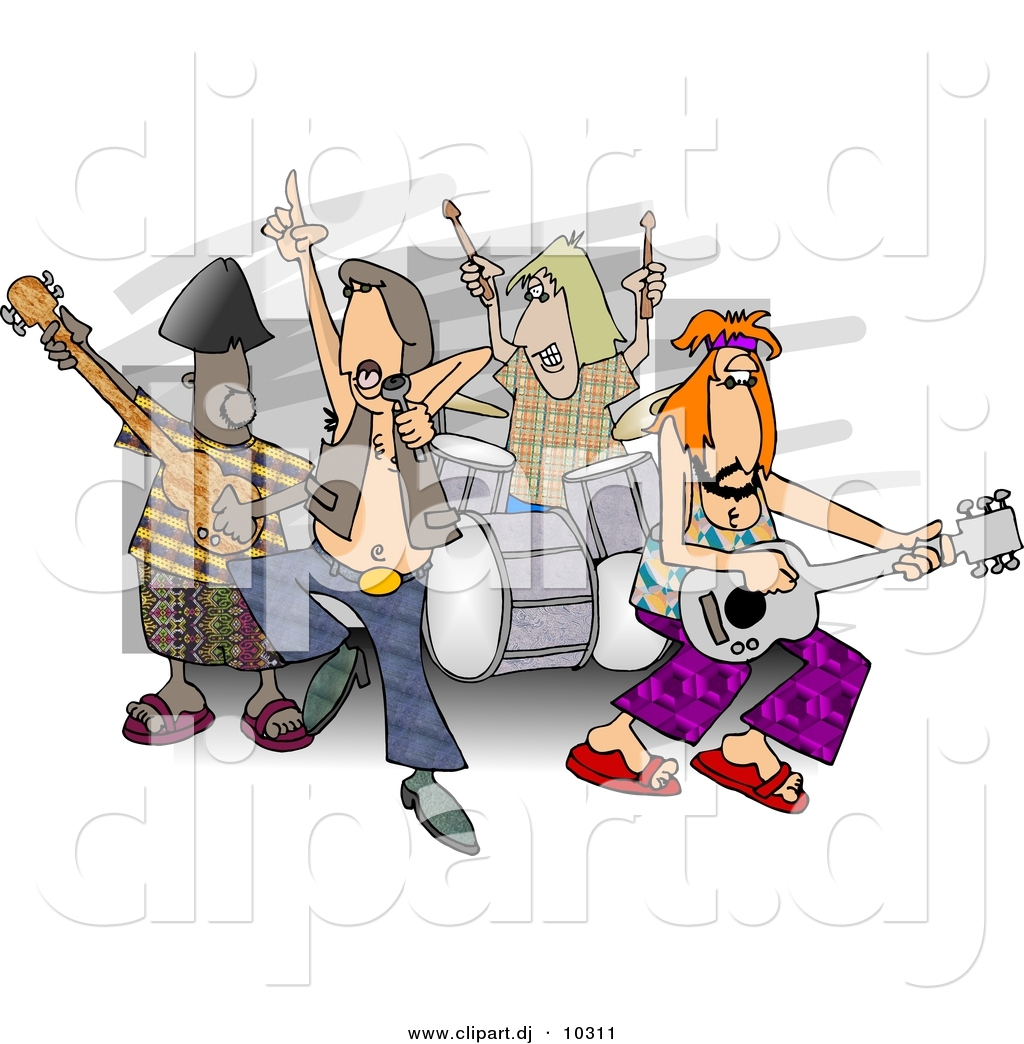 Cartoon rock and roll band playing music cartoon rock band playing