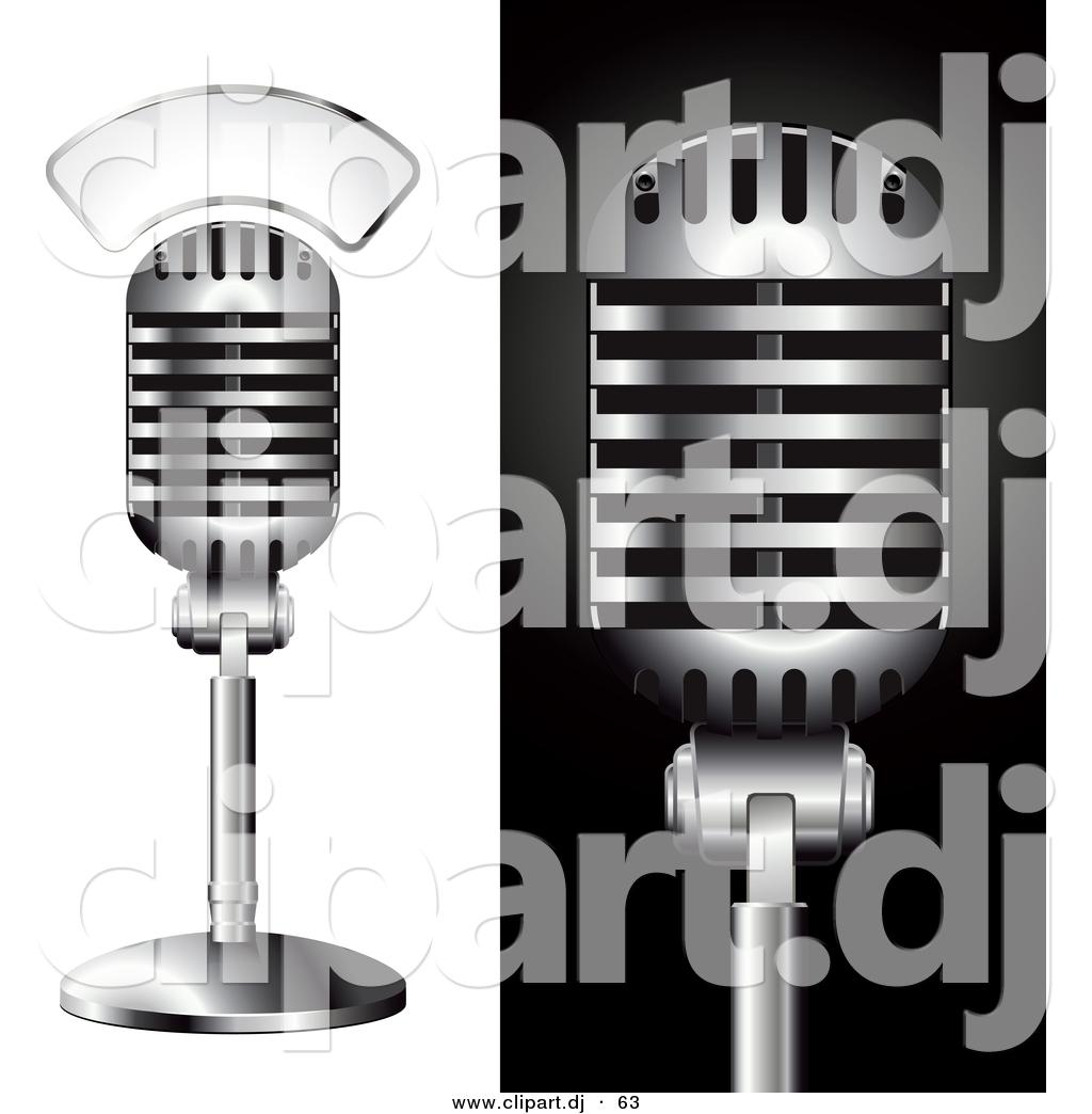 Vector Clipart of a 2 Metal Studio Microphones - Digital ...