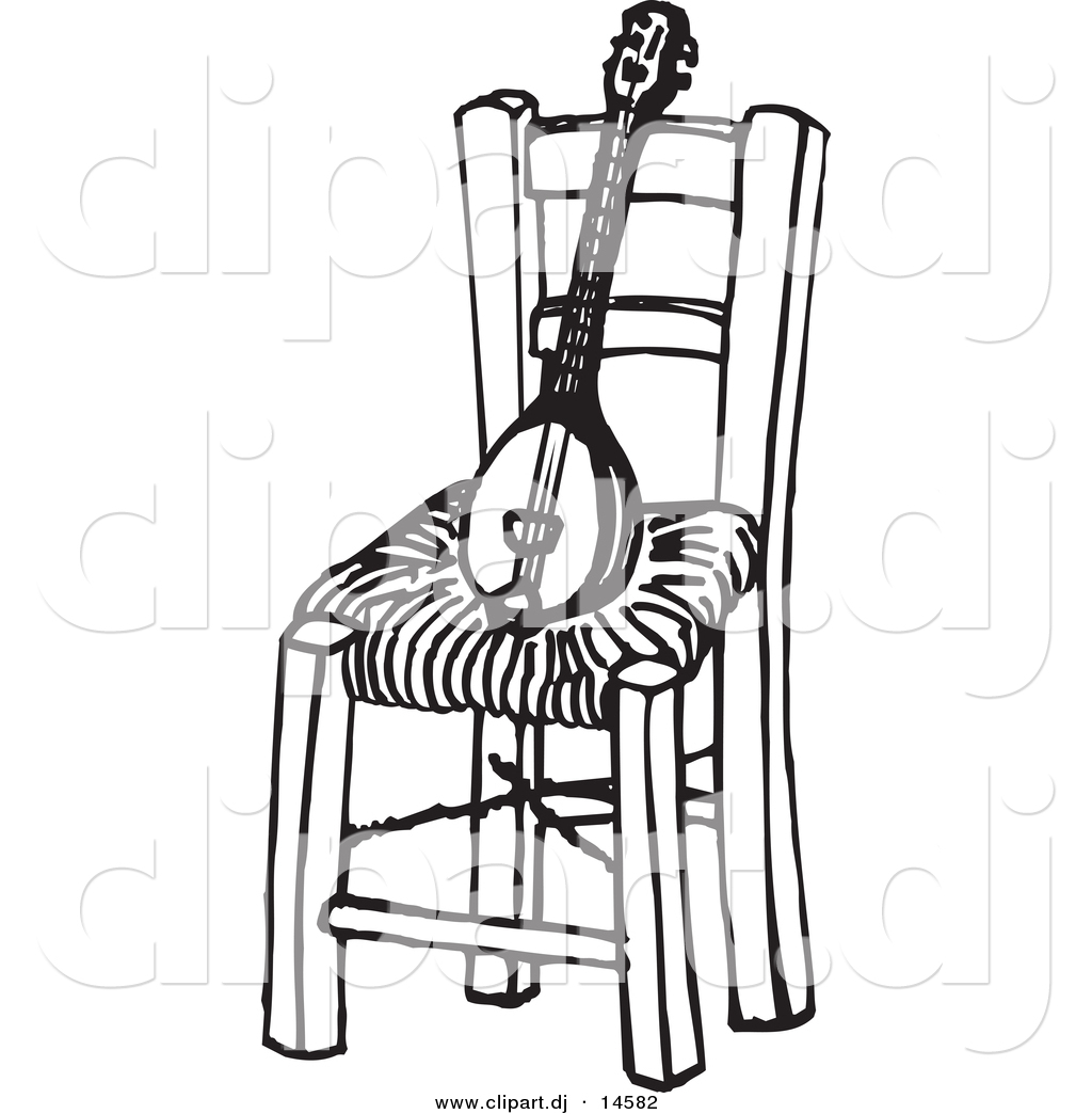 Vector Clipart of a Baglamas Instrument on Wood Chair Black and
