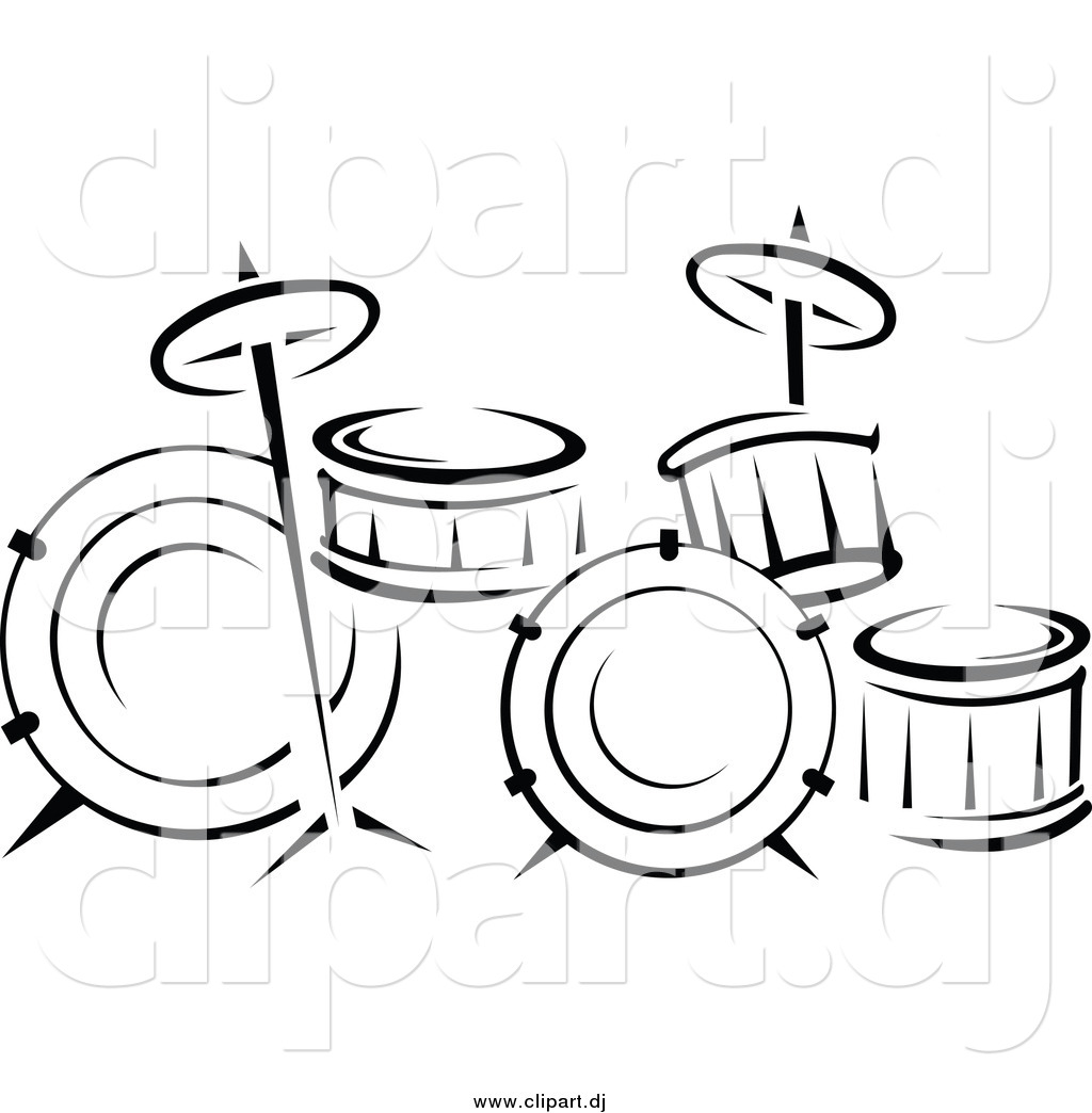 vector clipart of a black and white drum set