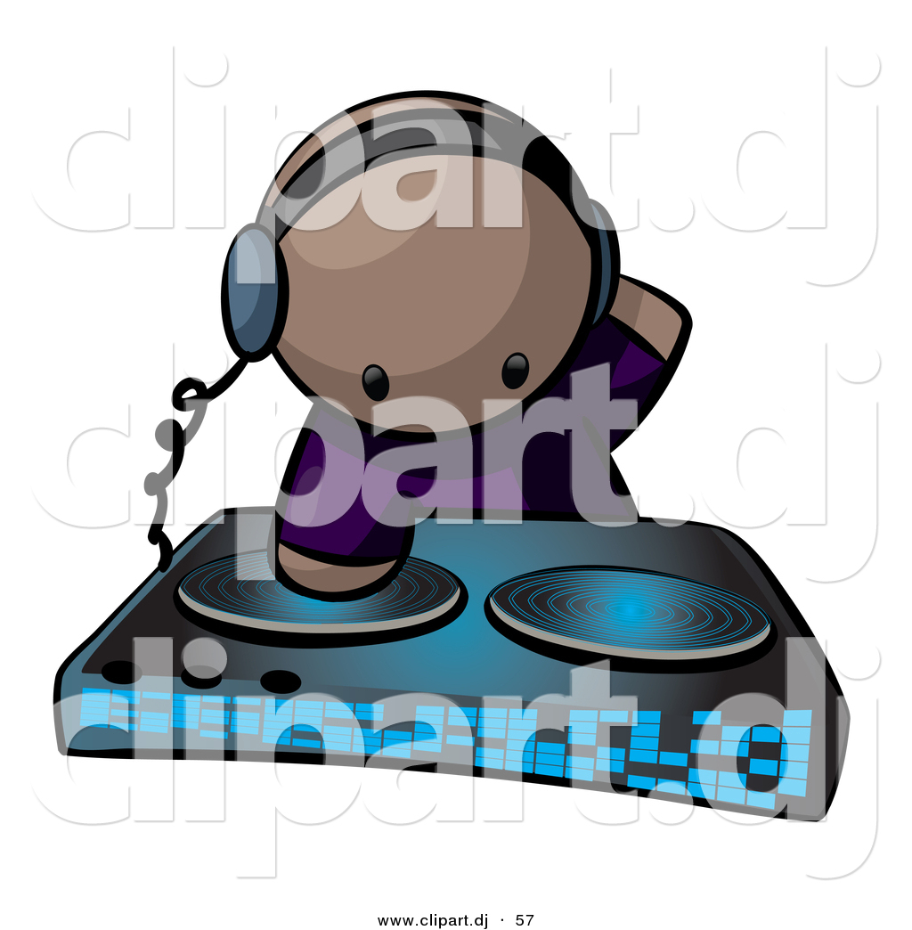 Vector Clipart of a Black Dj Mixing Records at a Dance Party by ...