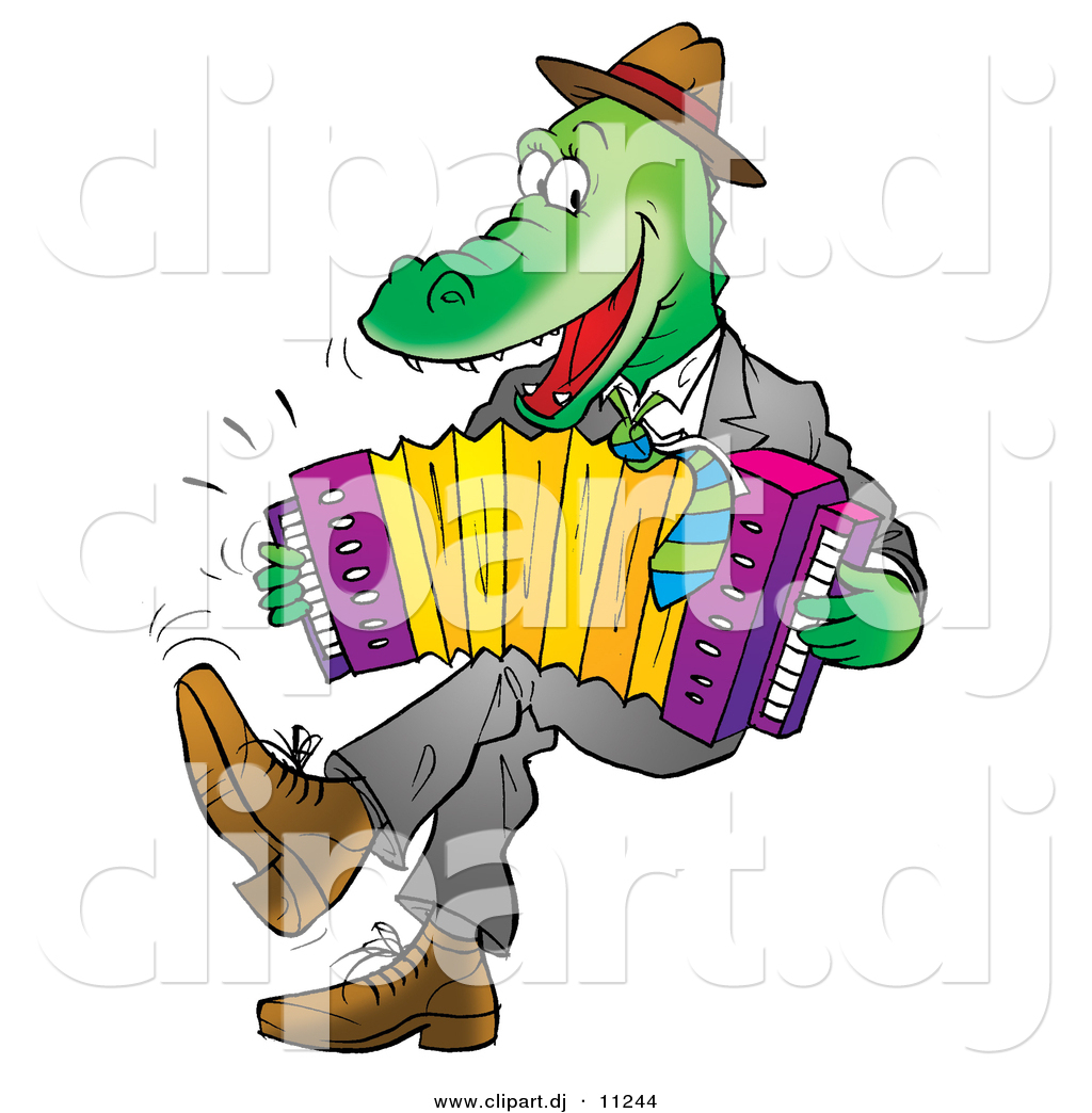 Vector Clipart of a Cartoon Alligator Playing an Accordion by Alex ...