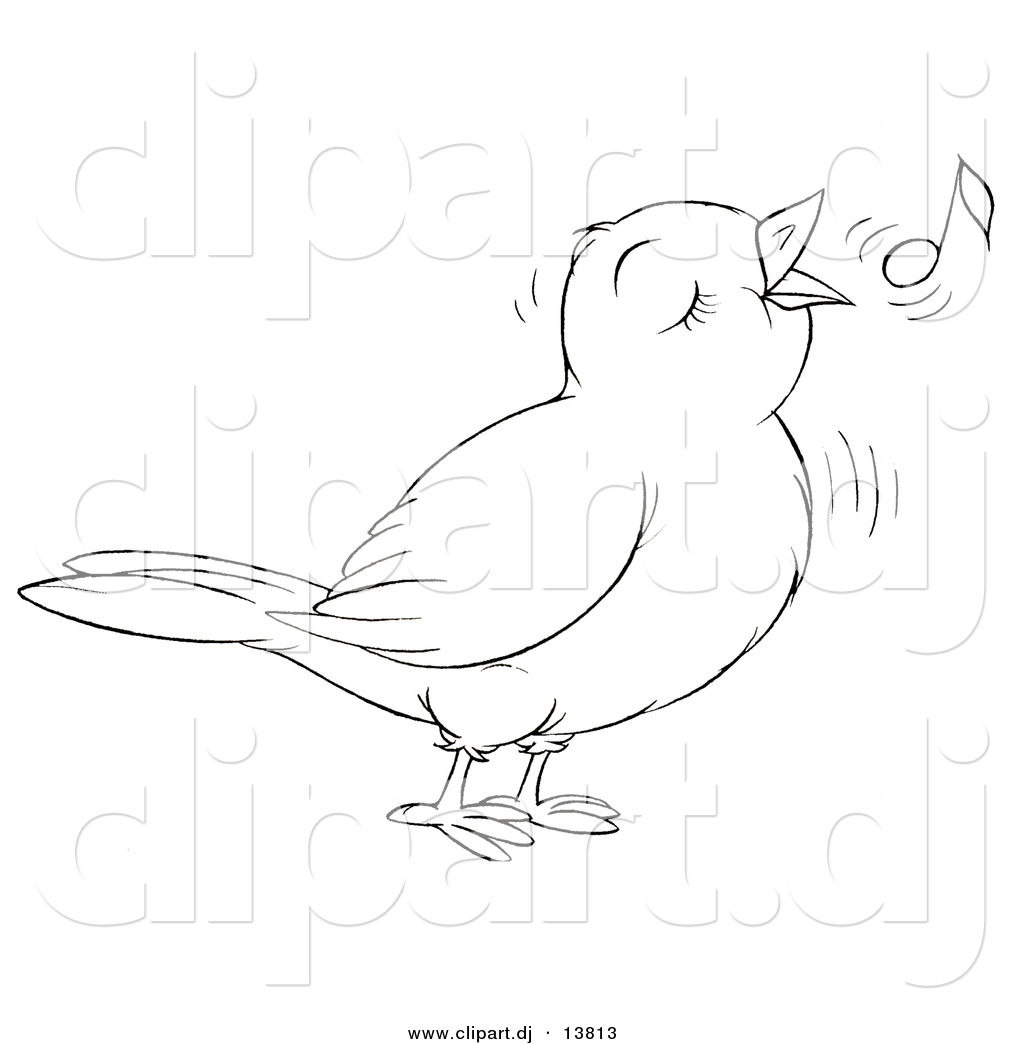 vector clipart of a cartoon cute singing bird outlined coloring