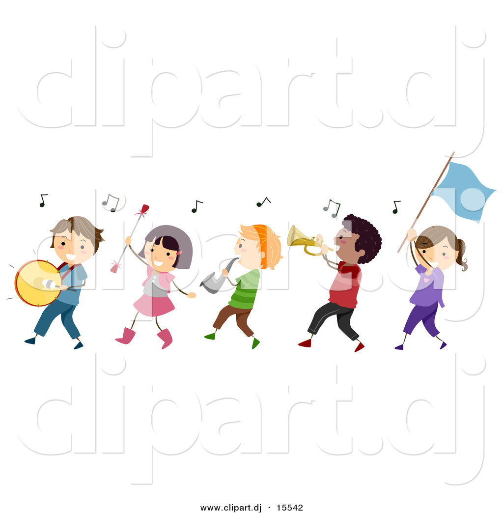 Vector Clipart of a Cartoon Diverse Marching Band Children by BNP ...