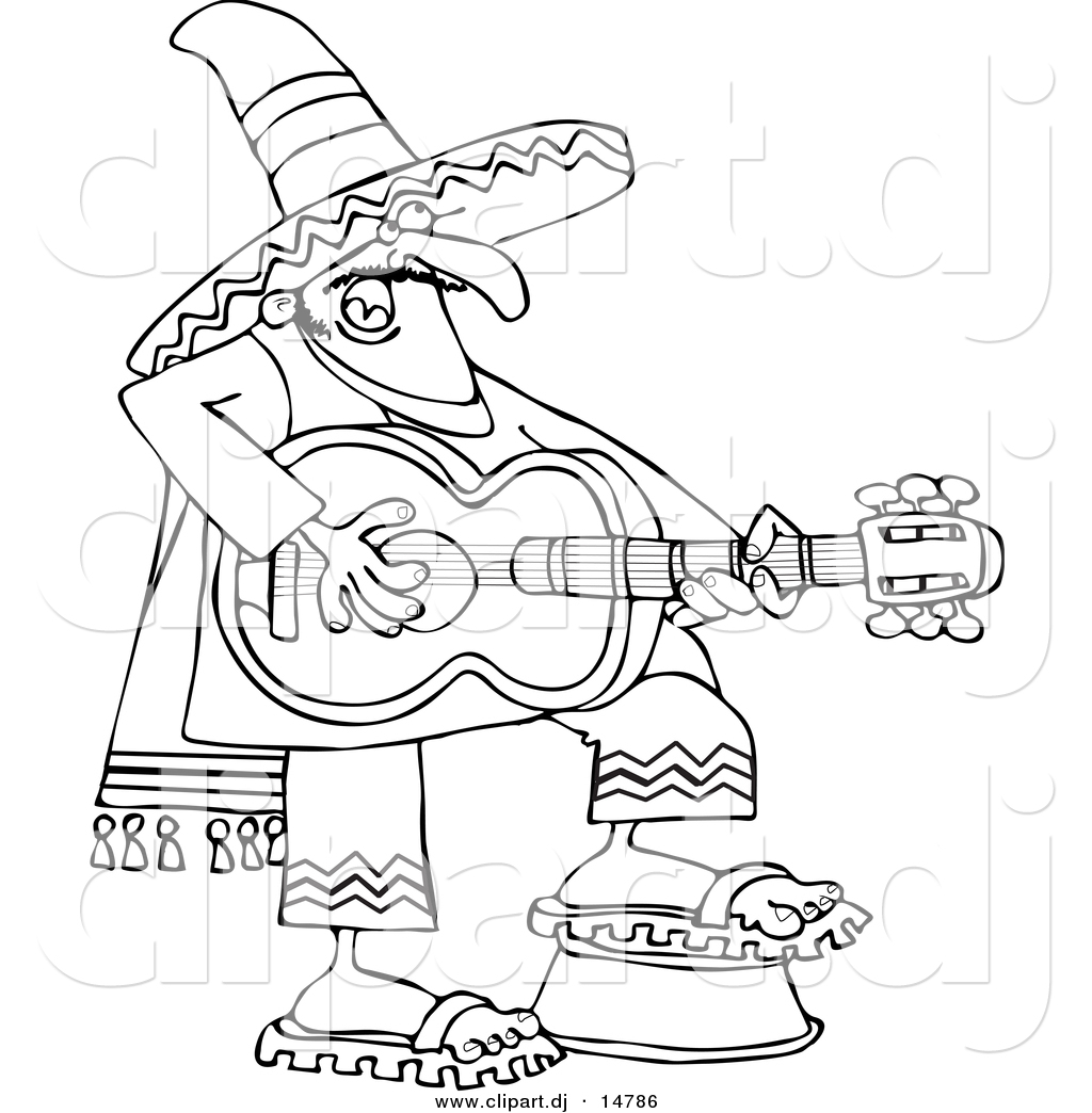 Line Art Coloring Pages : Vector clipart of a cartoon mexican guitarist outline