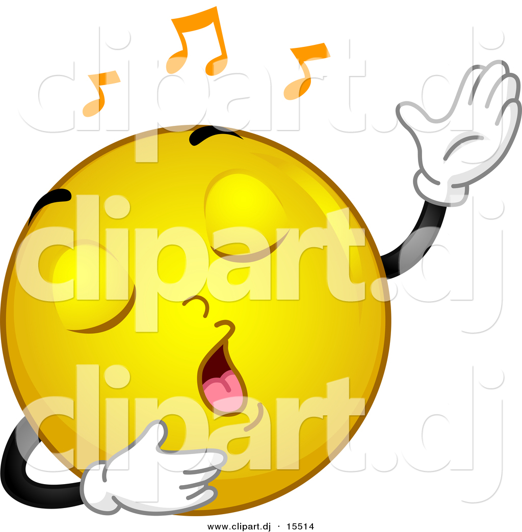 Vector Clipart of a Cartoon Yellow Smiley Emoticon Singing by BNP ...