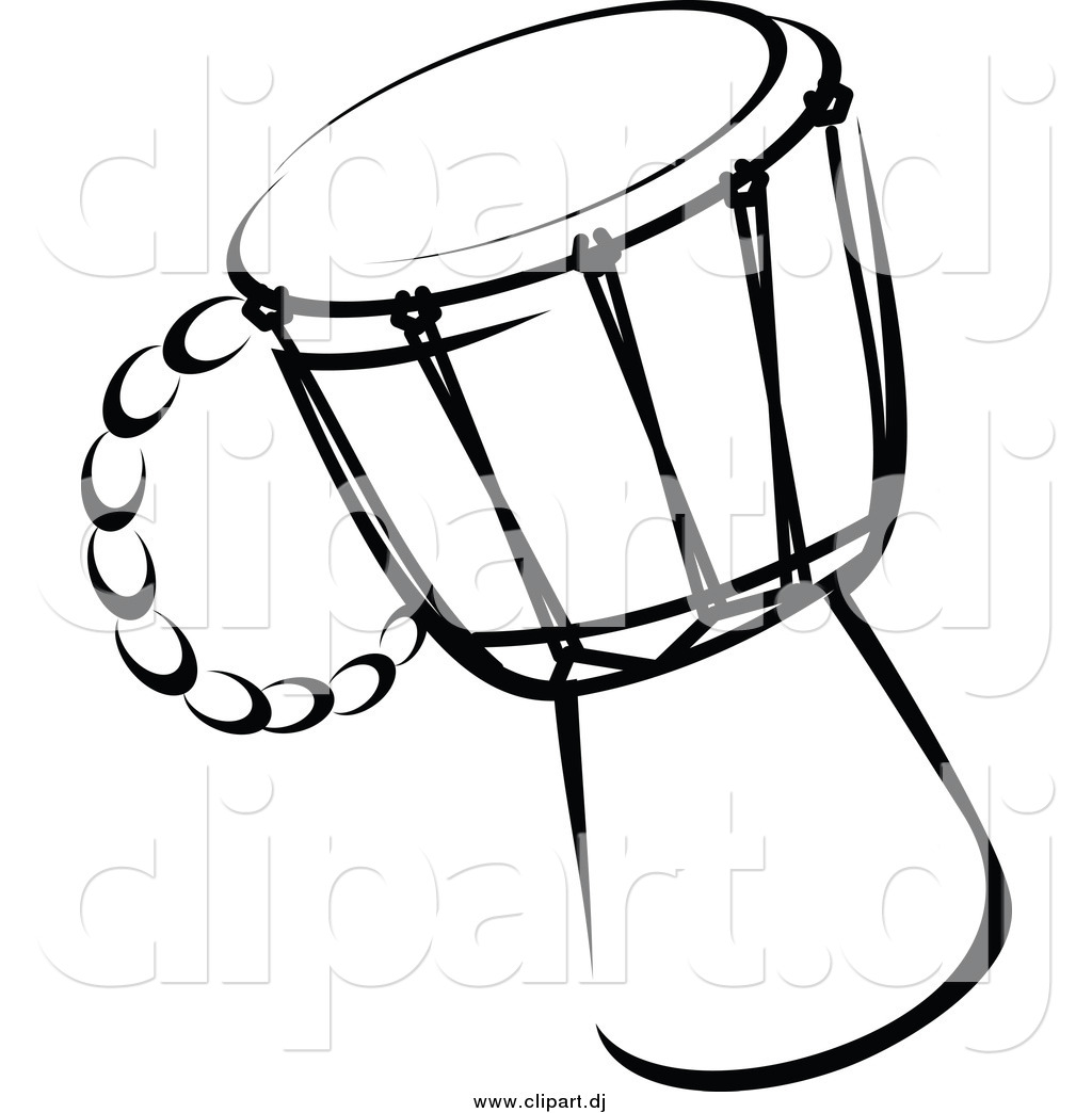 Vector Clipart Of A Drum Black And White By Seamartini