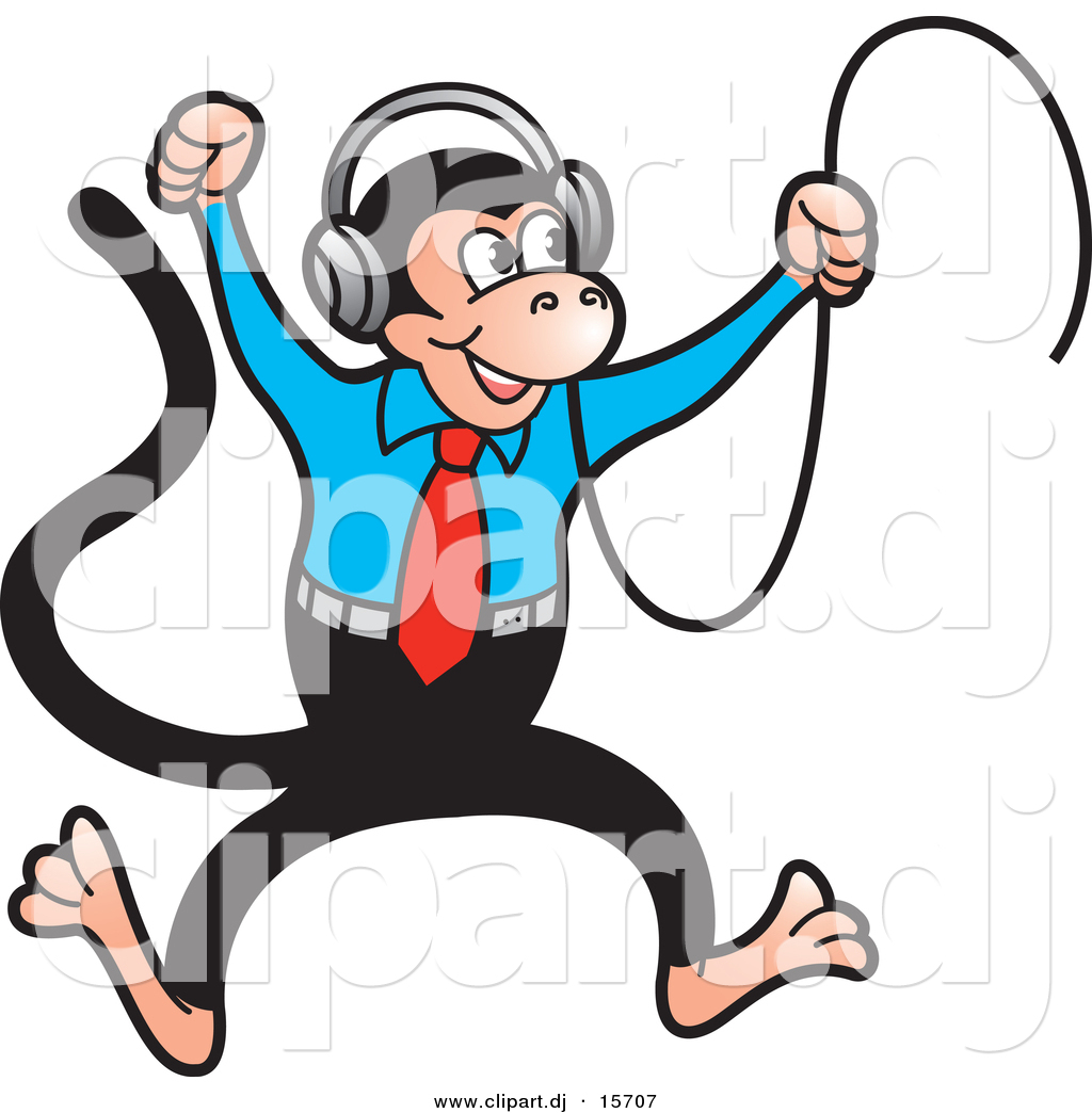 Vector Clipart of a Happy Cartoon Monkey Dancing to Music in His ...
