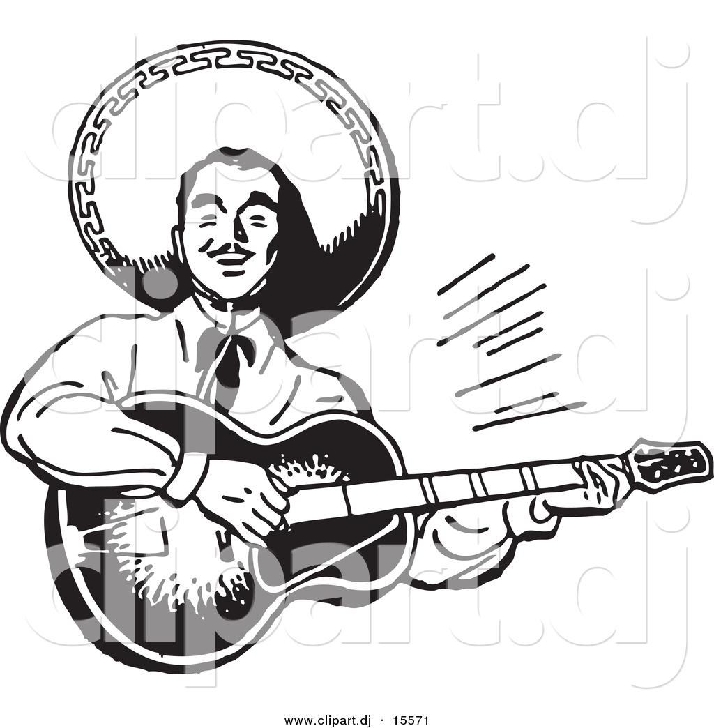 Vector Clipart of a Mexican Mariachi Guitarist Playing Music ...