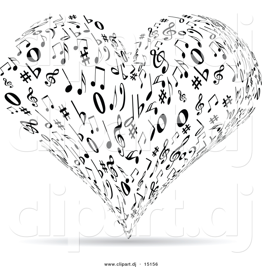 vector clipart of a music note love heart black and white by