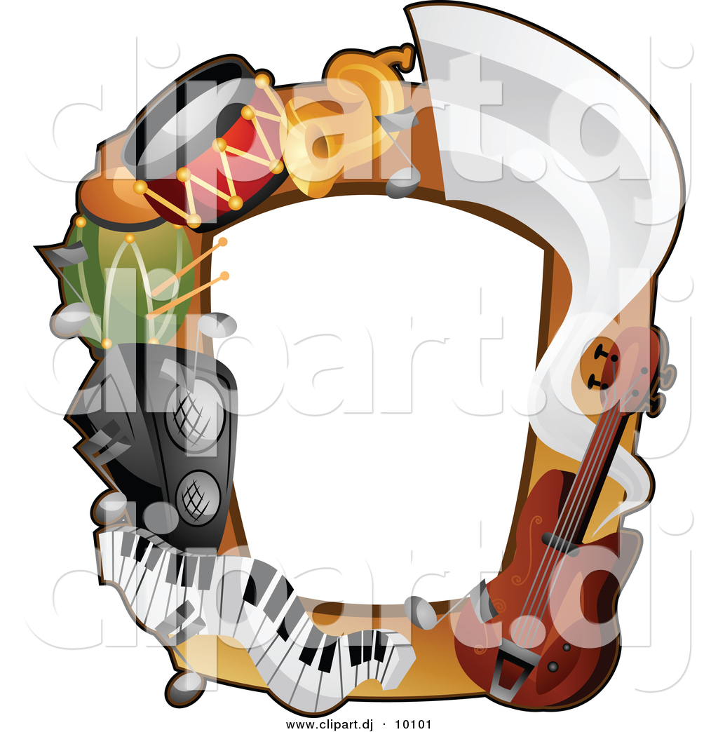 vector clipart of a musical instruments border frame design