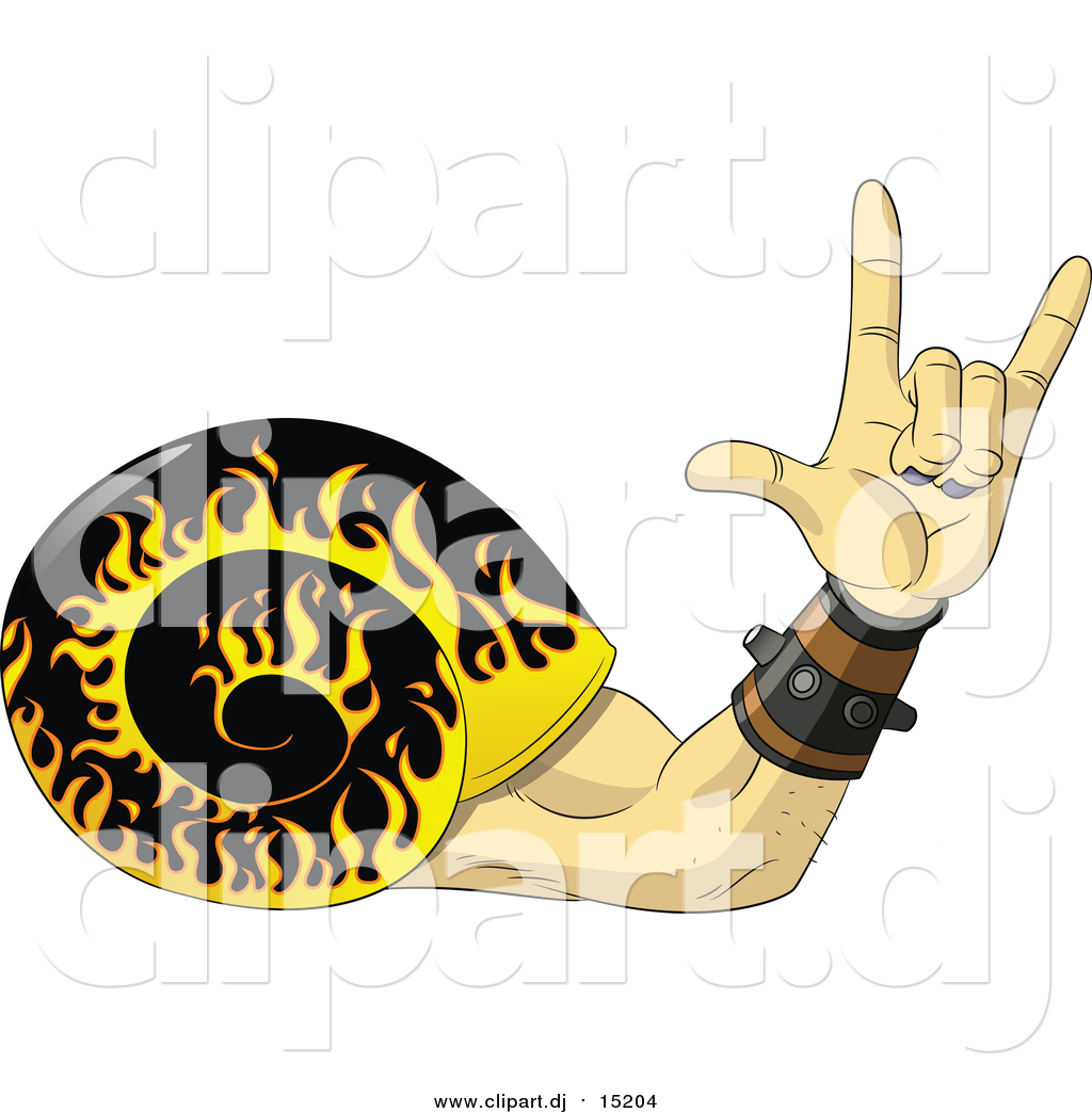 Vector Clipart of a Rock and Roll Hand Snail with a Flaming Shell ...