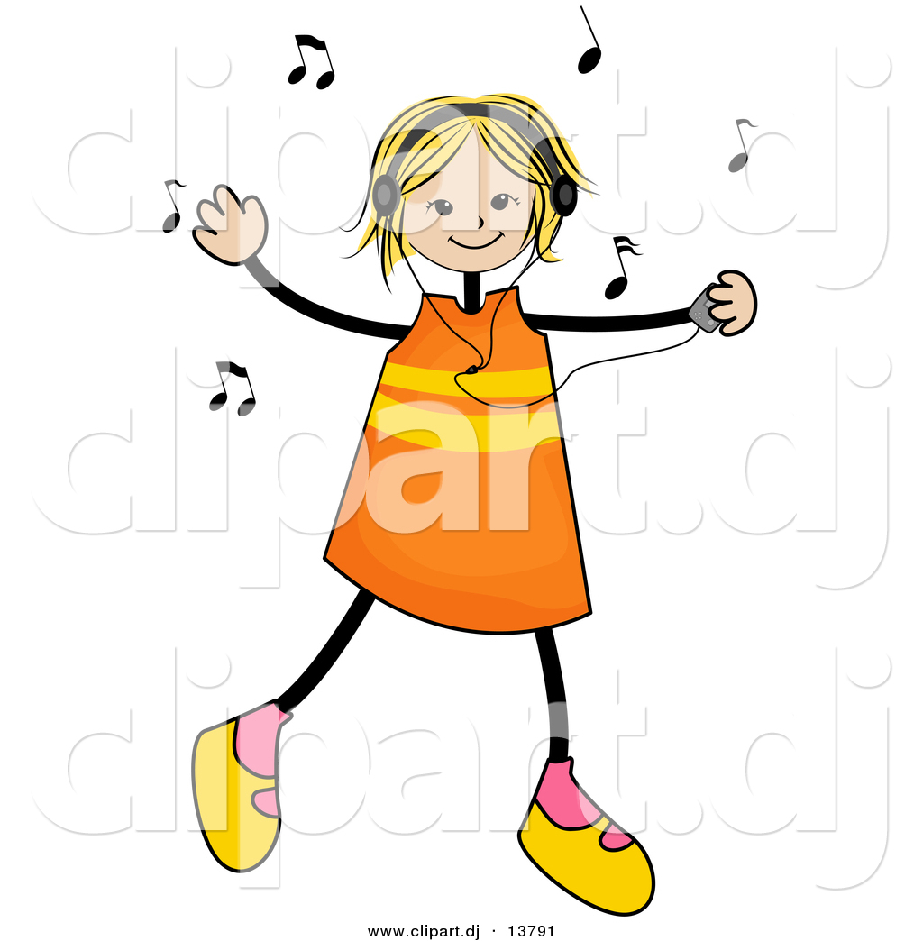 Vector Clipart of a Stick Girl Listening to Music and Dancing by BNP ...