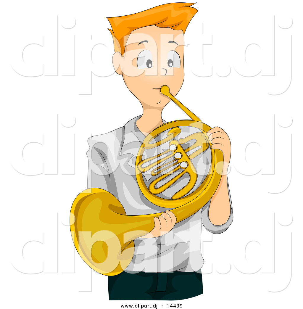 Preview  Vector Clipart of a Teen Cartoon Boy Playing Gold French Horn    French Horn Clipart