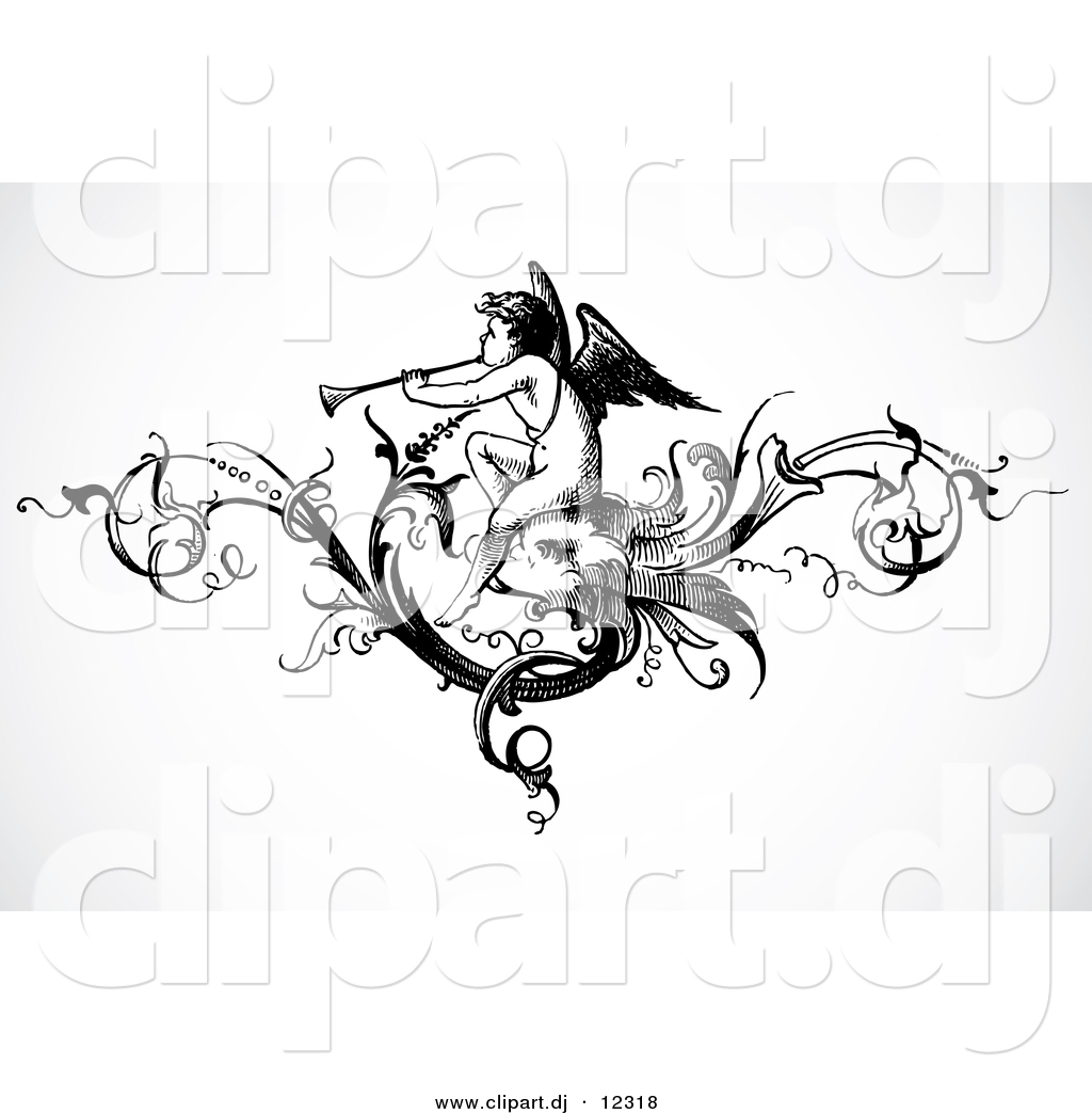 Angel Playing A Trumpet Within A Vine Header Design   Black And White  Vintage Art