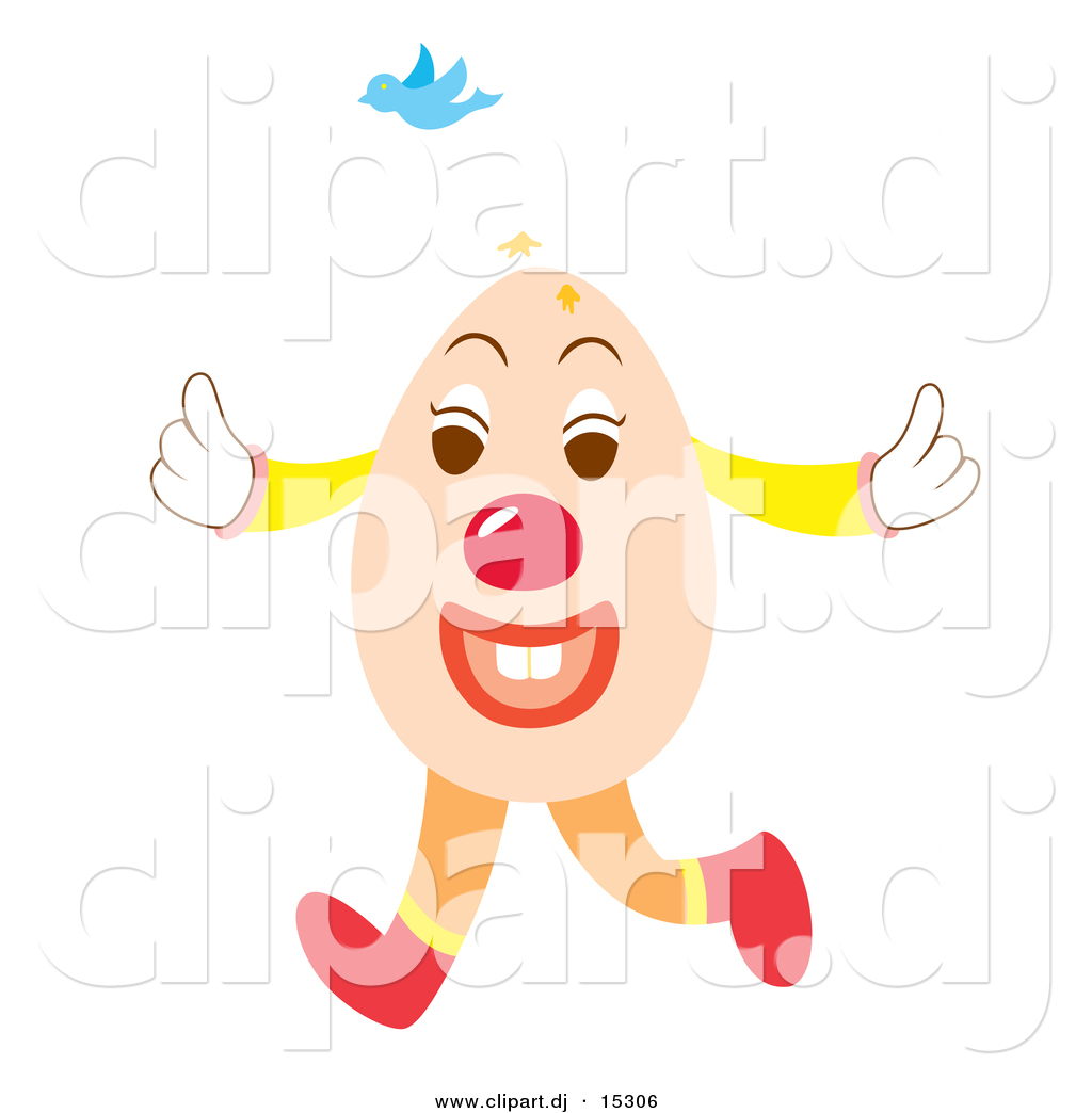 vector clipart of an easter egg cartoon character singing with a