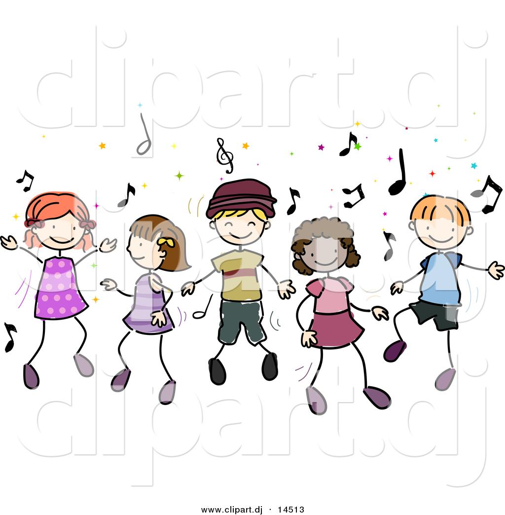 ... of Cartoon Doodled Kids Dancing to Music by BNP Design Studio - #14513
