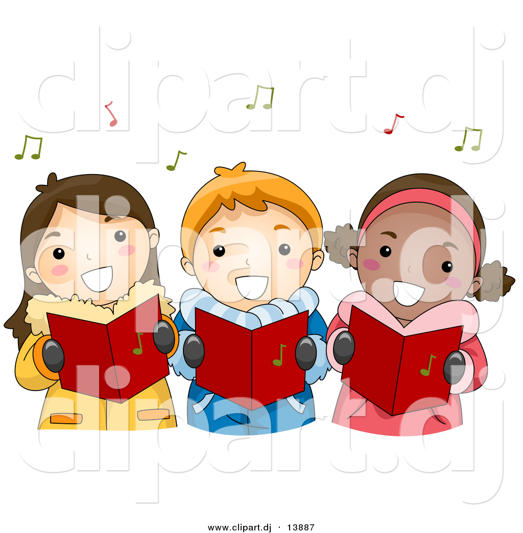 Vector Clipart of Cartoon Kids Singing Christmas Carols by BNP ...