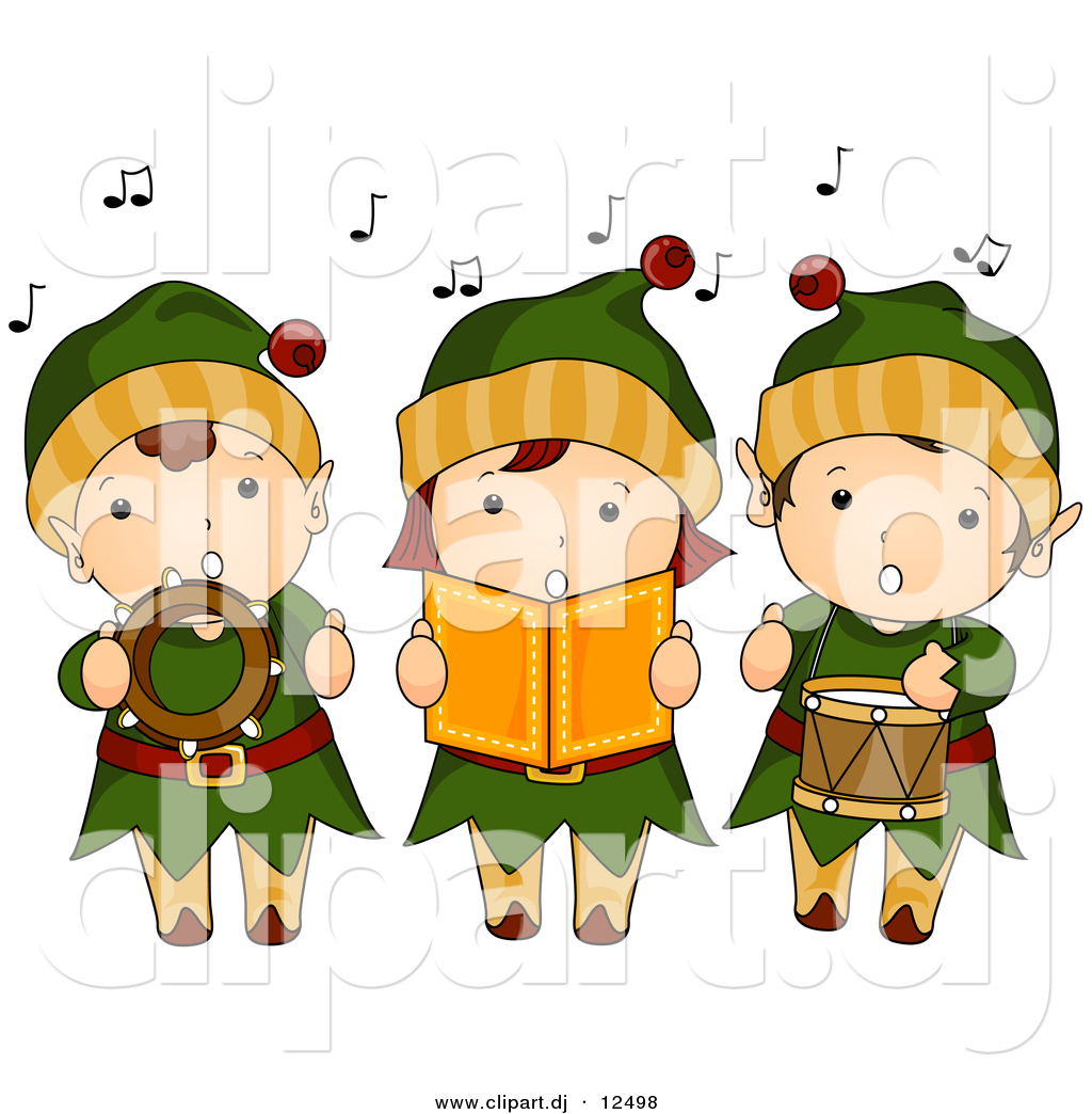 vector clipart of cartoon kids singing christmas music while