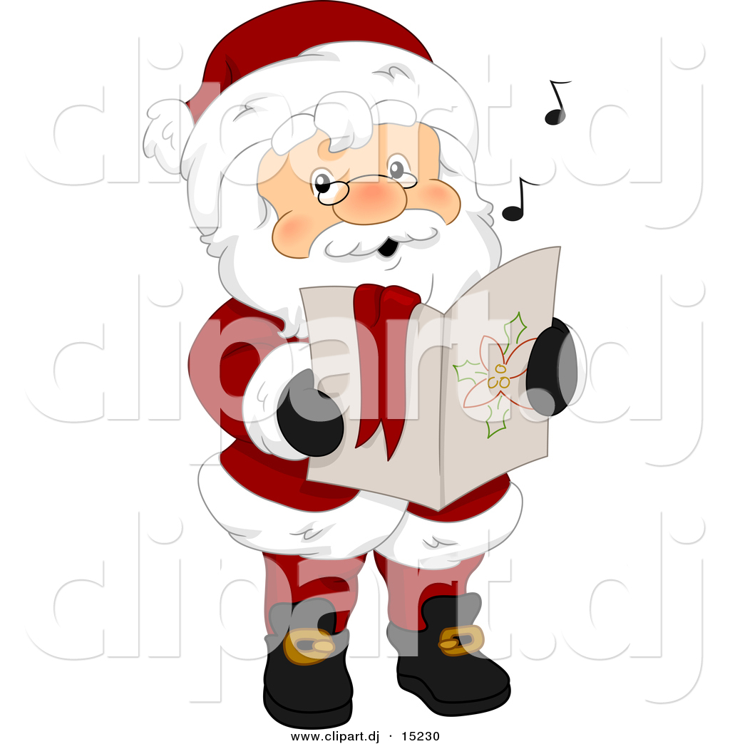 Vector Clipart of Cartoon Santa Singing Christmas Carols by BNP ...