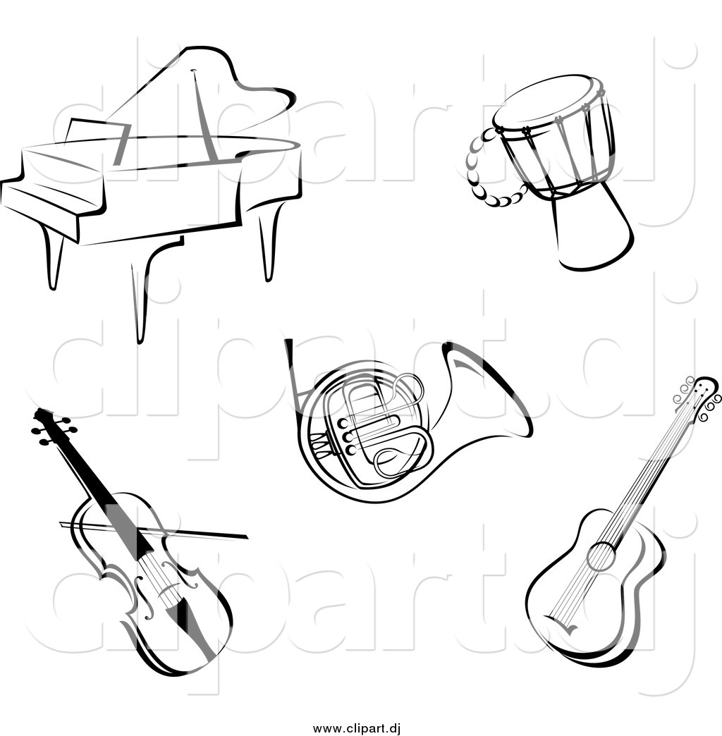 music instruments clipart black and white - photo #40