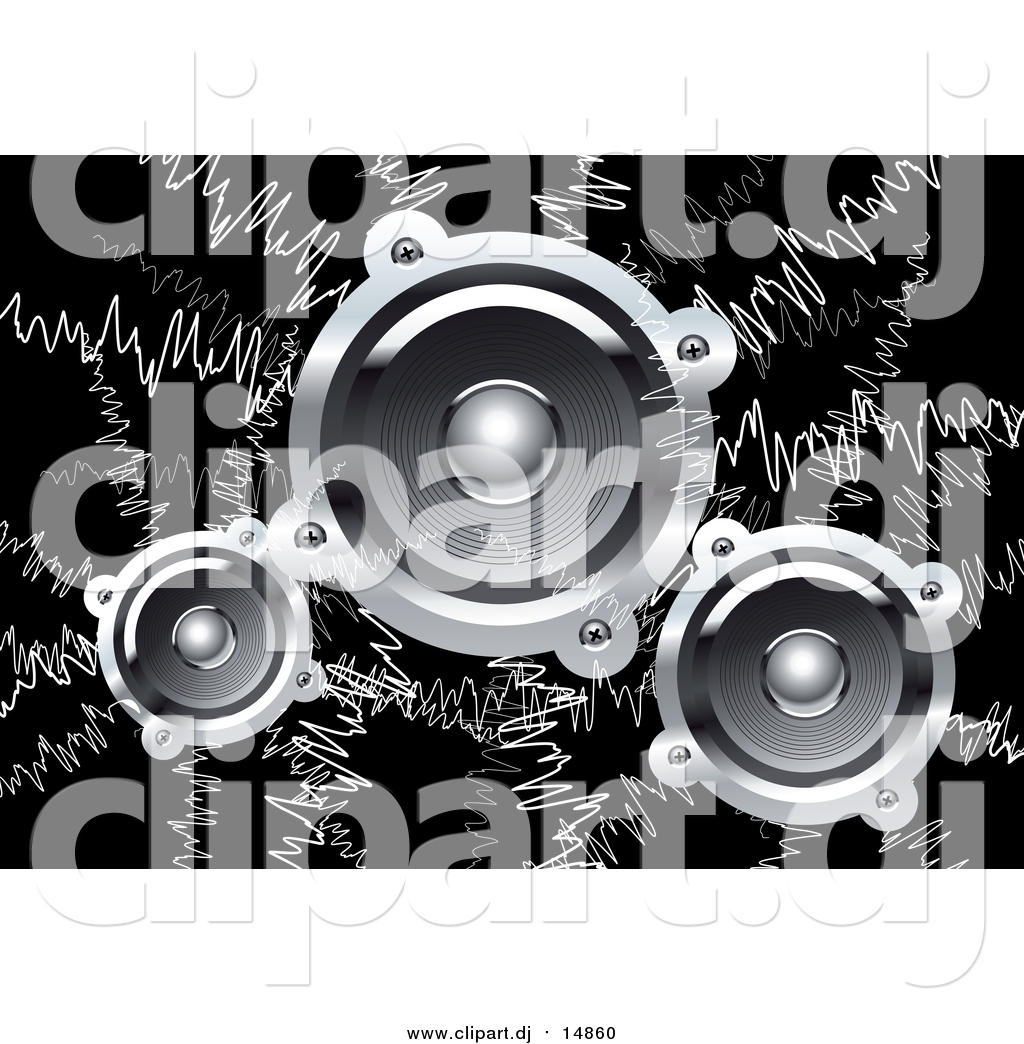 dj speakers clipart. vector clipart of music waves and audio speakers on black dj