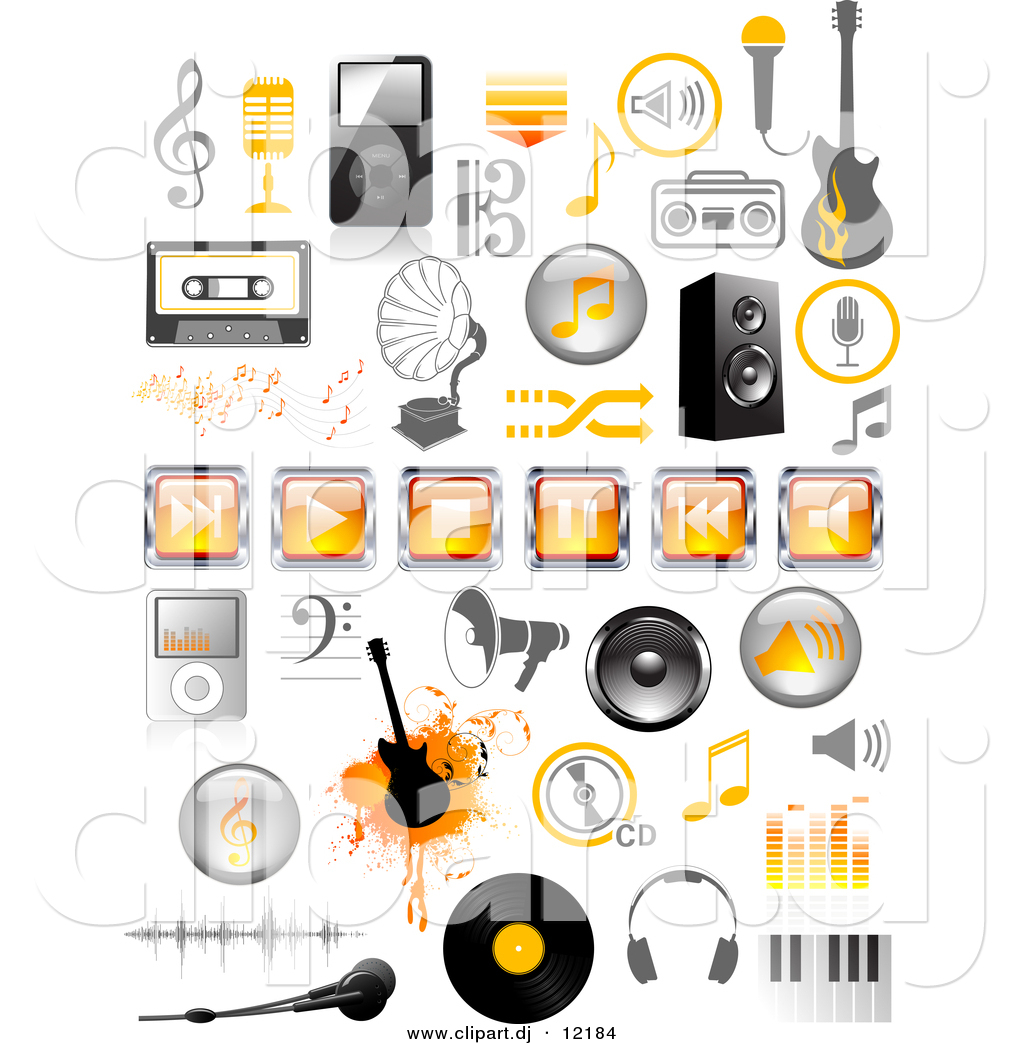Vector Clipart of Orange and Black Music Icons - Digital ...