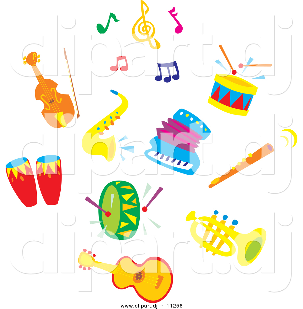 Larger Preview: Vector Clipart of Sax, Accordion, Colorful Music Notes ...