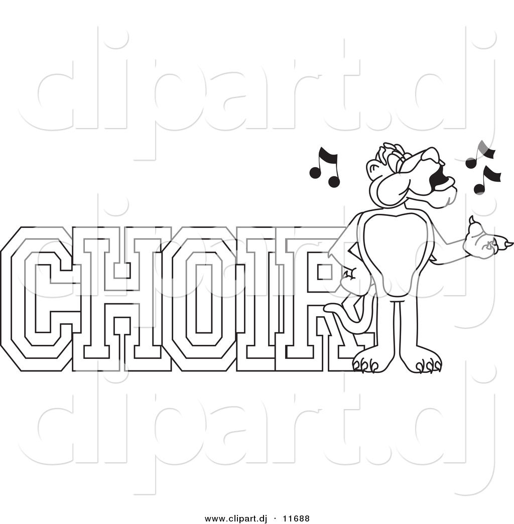 vector of a cartoon panther with choir text coloring page