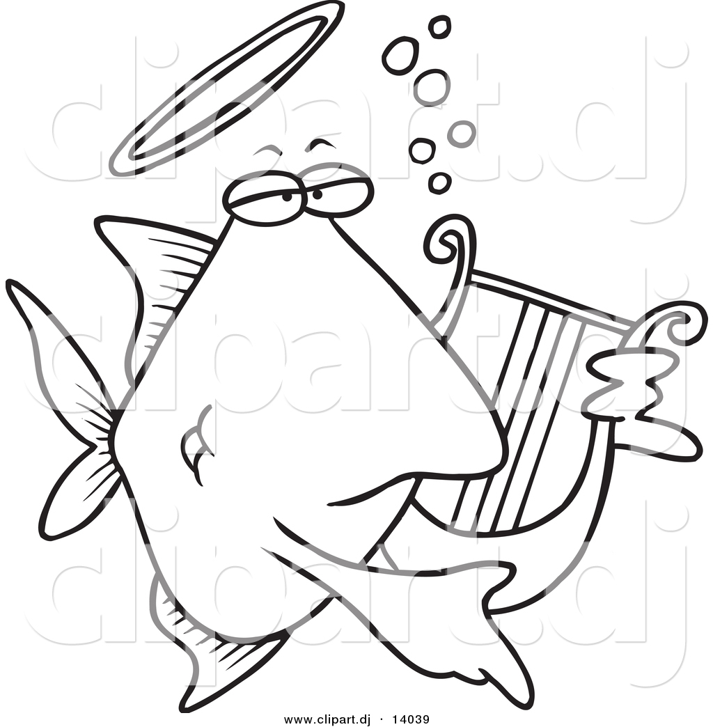 Vector Of Cartoon Angelfish Playing A Lyre