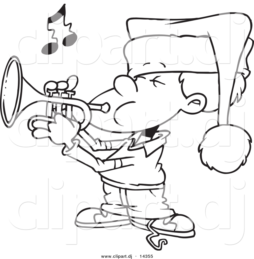 vector of cartoon boy playing christmas music on a trumpet coloring page outline