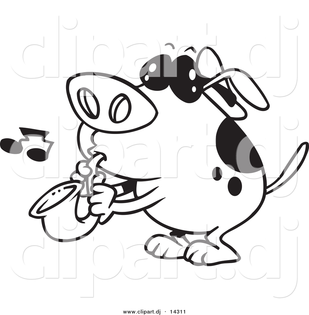 vector of cartoon dog playing a saxophone coloring page outline
