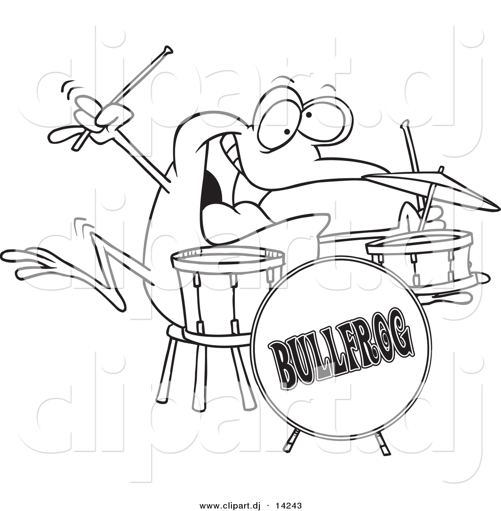 vector of cartoon drummer frog coloring page outline by toonaday