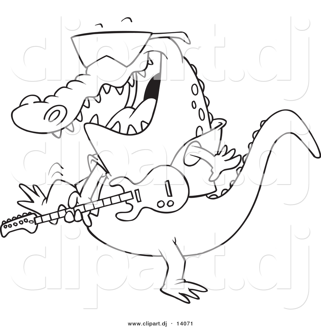 vector of cartoon gator guitarist coloring page outline by