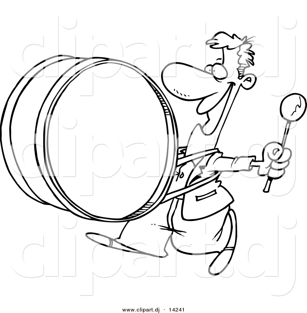 Vector Of Cartoon Happy Drummer Coloring Page Outline By