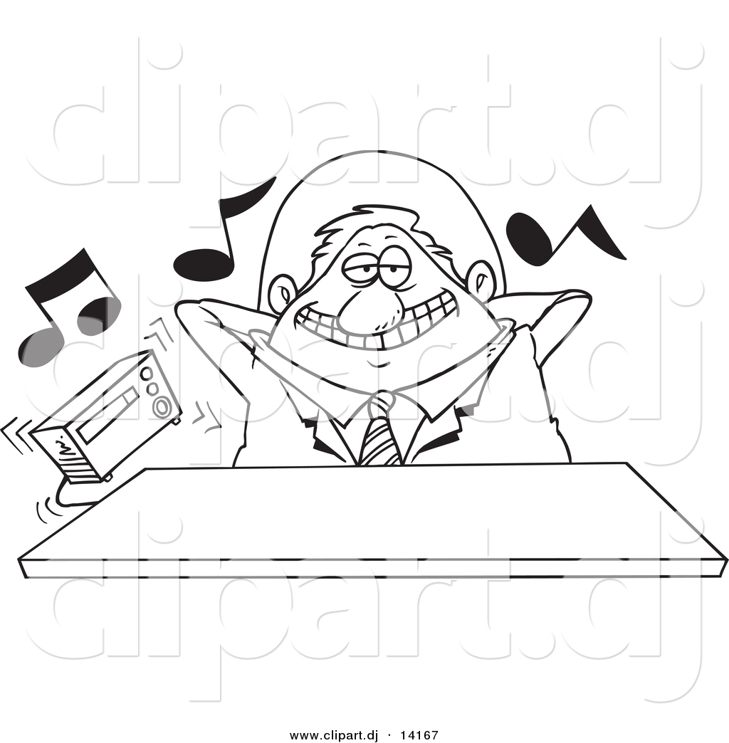 vector of cartoon lazy boss listening to loud music coloring