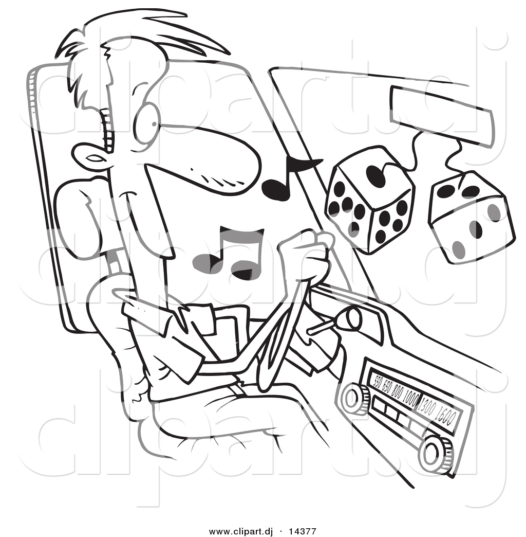 vector of cartoon man listing to tunes in his car coloring page