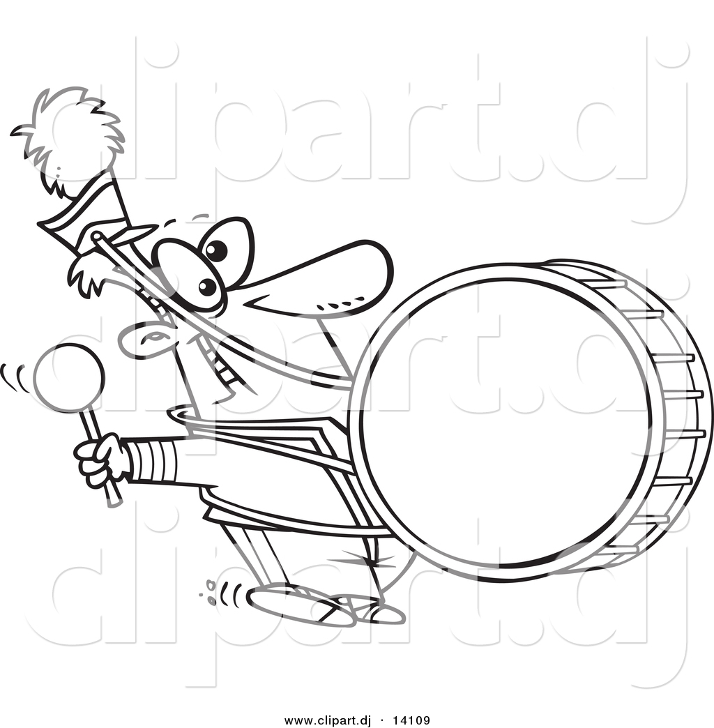 Vector Of Cartoon Marching Band Drummer Coloring Page Outline By Marching Band Coloring Pages