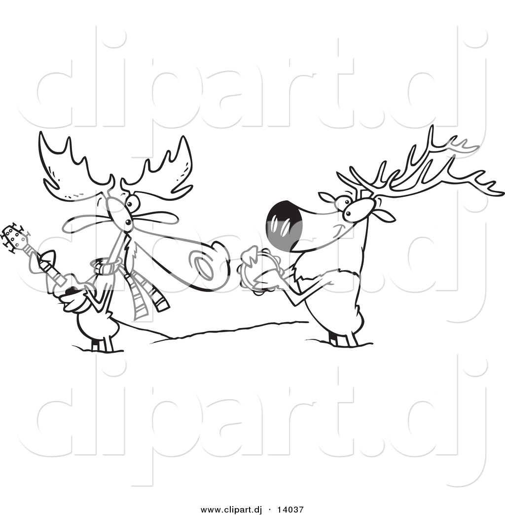 vector of cartoon moose and elk jamming in the snow coloring