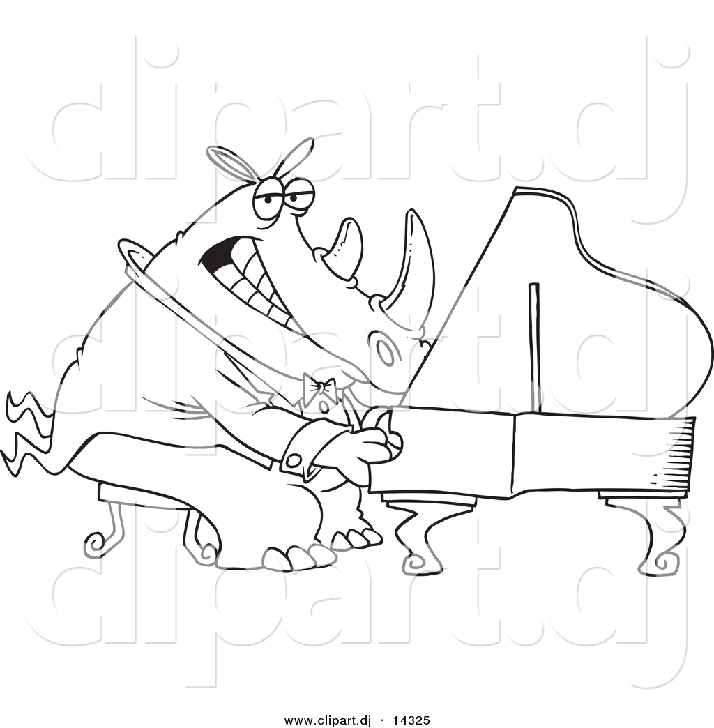vector of cartoon rhino pianist coloring page outline by