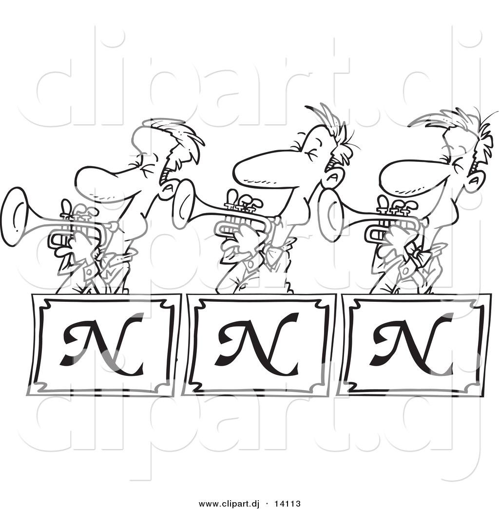 Cartoon Jazz Band Vector of Cartoon Trumpet Band