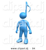 3d Cartoon Clipart of a Blue Character with a Music Note Head Design by 3poD