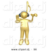 3d Cartoon Clipart of a Gold Man with Music Note Head, Listening to Tunes Through Headphones by 3poD